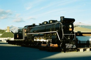 Canadian National 4-8-2 Mountain #6015, built in 1923, on static display in Jasper, AB